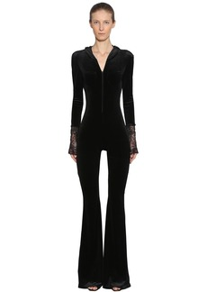 Faith Hooded Open Back Stretch Velvet Jumpsuit