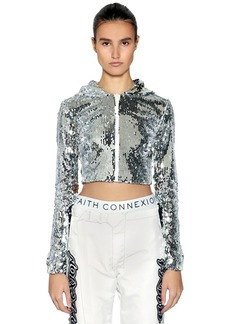 Faith Hooded Sequined Zip-up Cropped Top