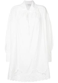 Faith lace trim tie neck blouse