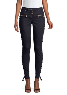Faith Mid-Rise Lace-Up Jeans
