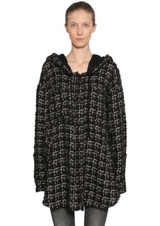 Faith Oversize Hooded Wool Blend Tweed Jacket