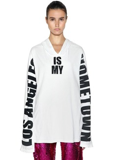 Faith Oversize La Print Hooded Jersey T-shirt