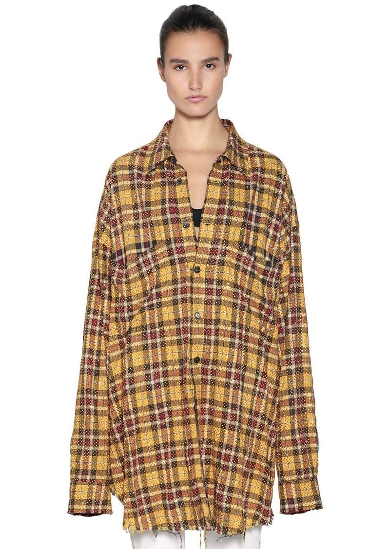 784905312e Faith Connexion Oversize Studded Check Cotton Shirt