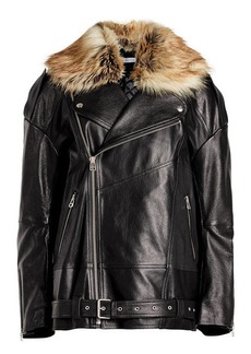 Faith Oversized Leather Jacket with Faux Fur Trim