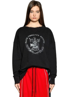 Faith Paris Printed Ripped Jersey Sweatshirt