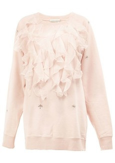 Faith ruffled applique sweatshirt