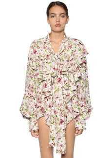 Faith Ruffled Floral Printed Silk Crepe Blouse