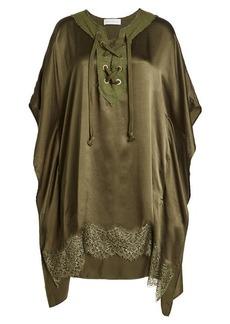 Faith Silk Poncho with Lace