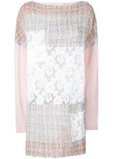 Faith tweed and lace patch mini dress