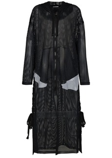 Faith x Kappa logo print hooded mesh coat