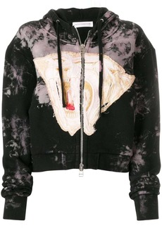 Faith zipped embroidered hoodie