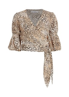 Faithfull the Brand Bisset Leopard Print Wrap Top