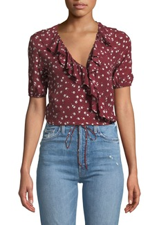 Faithfull the Brand Carayes Ditsy Floral Ruffle Wrap Top