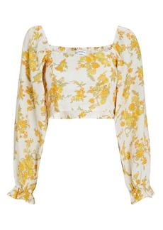 Faithfull the Brand Carmody Floral Linen Crop Top