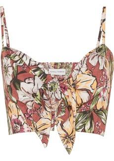 Faithfull the Brand De Fiori Cropped Floral-print Linen Top