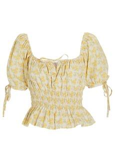 Faithfull the Brand Edna Floral Puff Sleeve Top