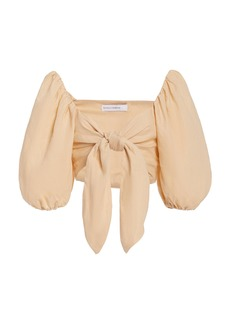 Faithfull The Brand - Women's Idrissy Tie-Front Linen Crop Top - Neutral - Moda Operandi