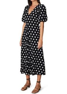 Faithfull the Brand Dot Puff Sleeve A-Line Crepe Dress