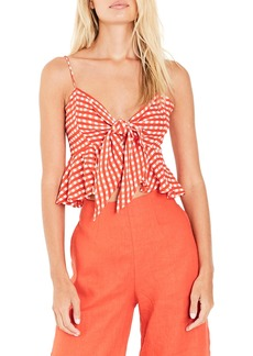FAITHFULL THE BRAND Gingham Knot Front Ruffle Hem Tank Top
