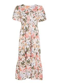 Faithfull The Brand Il Riso Floral-Print Linen Midi Dress