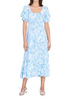 Faithfull the Brand Linnie Tie Dye Puff Sleeve Midi Dress
