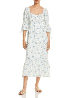 Faithfull the Brand Marita Midi Smocked Square Neck Floral Dress