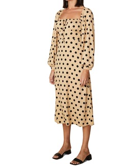 Faithfull the Brand Massima Polka Dot Long Sleeve Midi Dress
