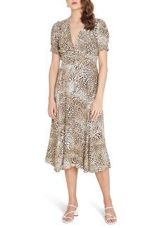 Faithfull the Brand Meadows Animal Print Midi Dress