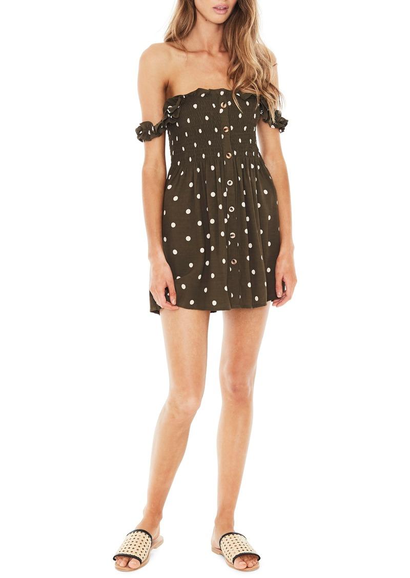 FAITHFULL THE BRAND Mika Polka Dot Off the Shoulder Dress