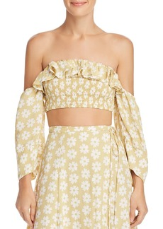 Faithfull the Brand Sybil Off-the-Shoulder Crop Top