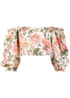 Faithfull the Brand floral print off-shoulder cropped top
