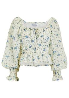 Faithfull the Brand Gillian Smocked Floral Linen Top