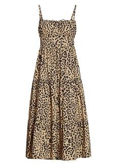 Faithfull the Brand Le Désert Alexia Animal Print Cotton Midi Dress