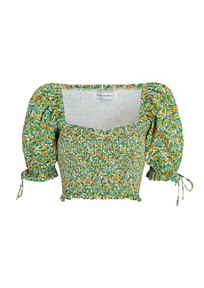 Faithfull the Brand Lisanza Floral Crepe Crop Top