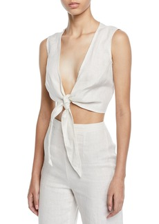 Faithfull the Brand Marcie Plunging Cropped Tie Top