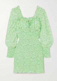 Faithfull the Brand Net Sustain Cosima Shirred Floral-print Crepe Mini Dress