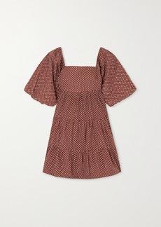 Faithfull the Brand Net Sustain Eryn Tie-detailed Tiered Leopard-print Cotton-poplin Mini Dress