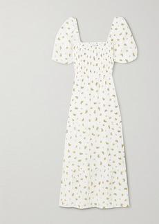 Faithfull the Brand Net Sustain Gianna Shirred Tiered Floral-print Linen Midi Dress