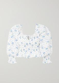 Faithfull the Brand Net Sustain Gillian Tie-detailed Shirred Floral-print Linen Top