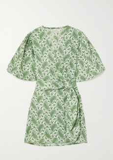 Faithfull the Brand Net Sustain Godiva Polka-dot Linen Mini Wrap Dress