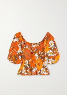 Faithfull the Brand Net Sustain Liberia Shirred Floral-print Crepe Top