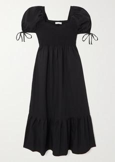 Faithfull the Brand Net Sustain Lithana Shirred Cotton-poplin Midi Dress