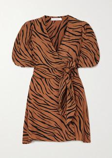 Faithfull the Brand Net Sustain Marissa Printed Crepe Wrap Mini Dress