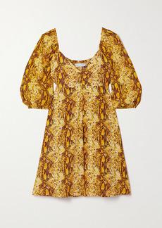 Faithfull the Brand Net Sustain Martine Snake-print Crepe Mini Dress