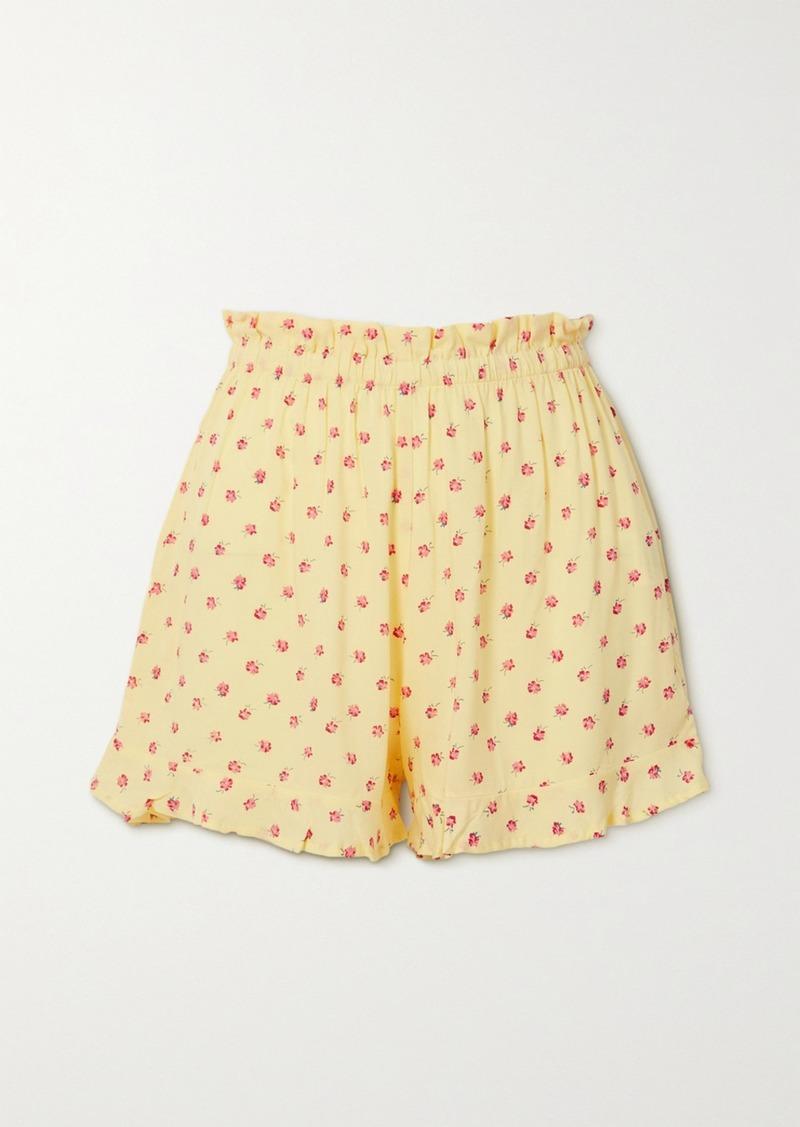 Pampelonne Ruffled Floral-print Crepe Shorts