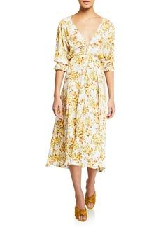 Faithfull the Brand Rafa Floral-Print Button-Front Puff-Sleeve Midi Dress