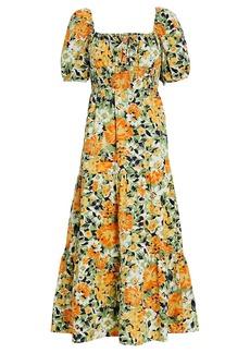 Faithfull the Brand Rene Floral Tiered Midi Dress