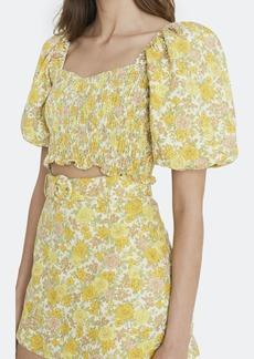 Faithfull the Brand Robina Shirred Puff Sleeve Crop Top - L