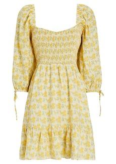 Faithfull the Brand Romina Floral Smocked Mini Dress