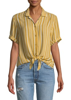 Faithfull the Brand Toulin Striped Tie-Front Shirt